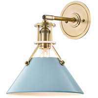 Painted No. 2 1 Light 10 inch Aged Brass Wall Sconce Wall Light in Blue Bird Steel