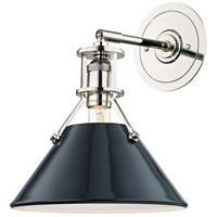 Painted No. 2 1 Light 10 inch Polished Nickel Wall Sconce Wall Light in Darkest Blue Steel