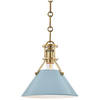 Painted No. 2 1 Light 10 inch Aged Brass Pendant Ceiling Light in Blue Bird Steel