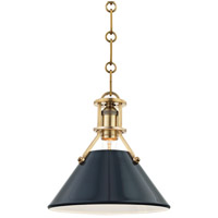Painted No. 2 1 Light 10 inch Aged Brass Pendant Ceiling Light in Darkest Blue Steel