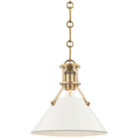Painted No. 2 1 Light 10 inch Aged Brass Pendant Ceiling Light in Off-White Steel