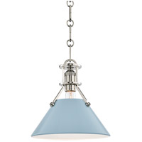 Painted No. 2 1 Light 10 inch Polished Nickel Pendant Ceiling Light in Blue Bird Steel