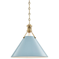 Painted No. 2 1 Light 16 inch Aged Brass Pendant Ceiling Light in Blue Bird Steel