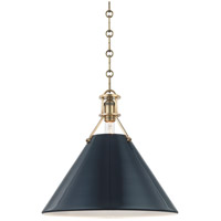 Hudson Valley MDS352-AGB/DBL Painted No. 2 1 Light 16 inch Aged Brass Pendant Ceiling Light in Darkest Blue Steel