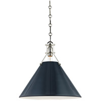 Painted No. 2 1 Light 16 inch Polished Nickel Pendant Ceiling Light in Darkest Blue Steel