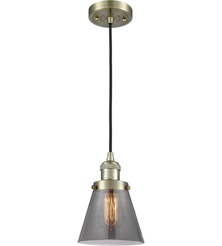 Innovations Lighting 201C-AB-G63 Small Cone 1 Light 6 inch Antique Brass Mini Pendant Ceiling Light photo thumbnail