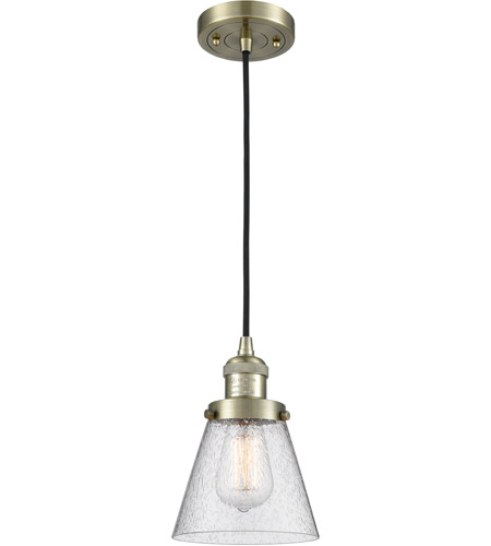 Innovations Lighting 201C-AB-G64 Small Cone 1 Light 6 inch Antique Brass Mini Pendant Ceiling Light photo thumbnail