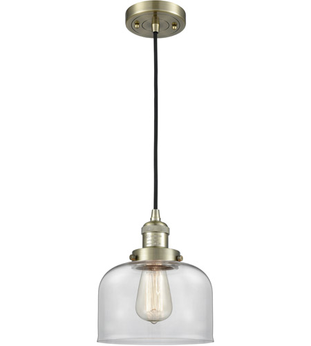 Innovations Lighting 201C-AB-G72-LED Large Bell LED 8 inch Antique Brass Mini Pendant Ceiling Light photo thumbnail