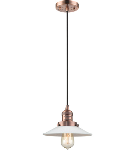 Innovations Lighting 201C-AC-G1 Halophane 1 Light 9 inch Antique Copper Mini Pendant Ceiling Light, Franklin Restoration photo thumbnail