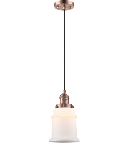 Innovations Lighting 201C-AC-G181-LED Canton LED 6 inch Antique Copper Mini Pendant Ceiling Light, Franklin Restoration photo thumbnail