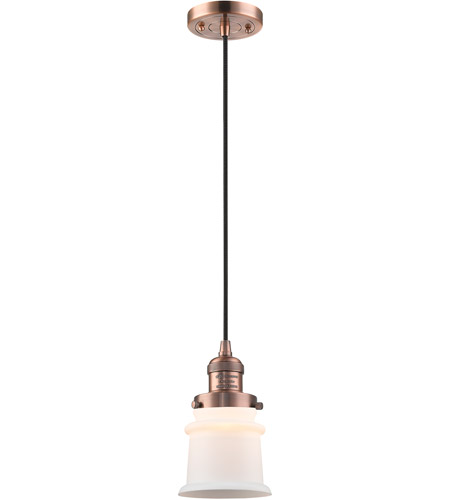 Innovations Lighting 201C-AC-G181S Small Canton 1 Light 6 inch Antique Copper Mini Pendant Ceiling Light, Franklin Restoration photo thumbnail