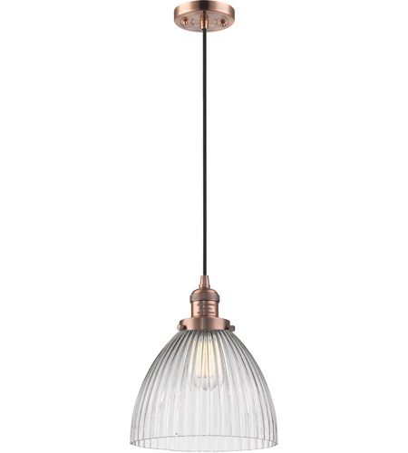 Innovations Lighting 201C-AC-G222 Seneca Falls 1 Light 10 inch Antique Copper Pendant Ceiling Light, Franklin Restoration photo
