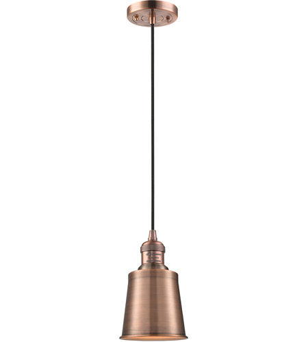 Innovations Lighting 201C-AC-M9 Addison 1 Light 5 inch Antique Copper Mini Pendant Ceiling Light photo