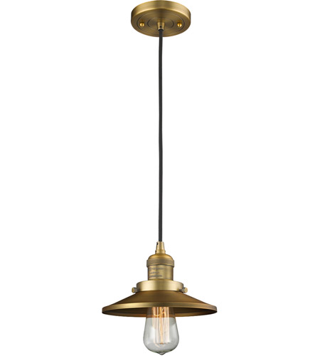 Innovations Lighting 201C-BB-M4-LED Railroad LED 8 inch Brushed Brass Mini Pendant Ceiling Light, Franklin Restoration photo