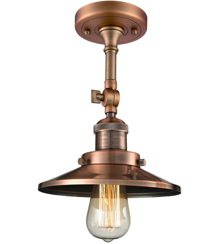 Innovations Lighting 201F-AC-M3 Railroad 1 Light 8 inch Antique Copper Semi-Flush Mount Ceiling Light, Franklin Restoration photo