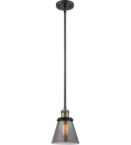 Innovations Lighting 201S-BAB-G63-LED Small Cone LED 6 inch Black Antique Brass Mini Pendant Ceiling Light photo thumbnail