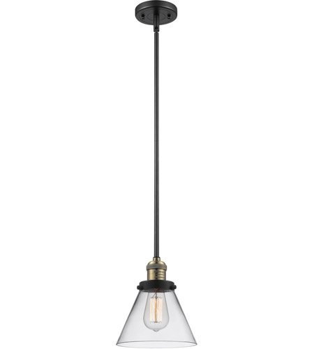 Innovations Lighting 201S-BBB-G42 Signature 1 Light 8 inch Black and Brushed Brass Mini Pendant Ceiling Light, Large, Cone photo