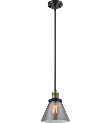 Innovations Lighting 201S-BBB-G43 Signature 1 Light 8 inch Black and Brushed Brass Mini Pendant Ceiling Light, Large, Cone photo