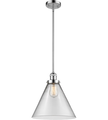 Innovations Lighting 201S-PC-G42L Signature 1 Light 12 inch Polished Chrome Pendant Ceiling Light, X-Large, Cone photo