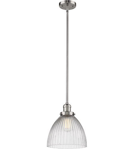Innovations Lighting 201S-PN-G222 Seneca Falls 1 Light 10 inch Polished Nickel Pendant Ceiling Light, Franklin Restoration photo
