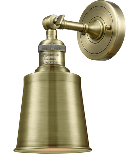 Innovations Lighting 203-AB-M9-AB Addison 1 Light 5 inch Antique Brass Sconce Wall Light, Franklin Restoration photo thumbnail
