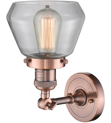 Innovations Lighting 203-AC-G172-LED Fulton LED 7 inch Antique Copper Sconce Wall Light alternative photo thumbnail