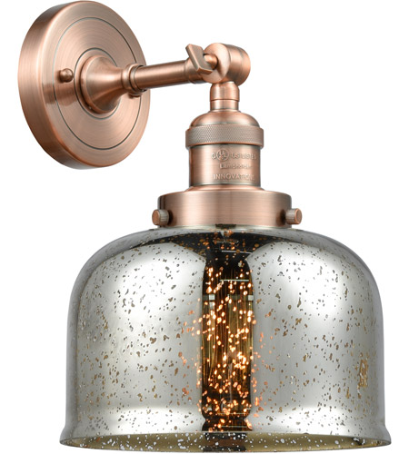 Innovations Lighting 203-AC-G78 Large Bell 1 Light 8 inch Antique Copper Sconce Wall Light photo thumbnail