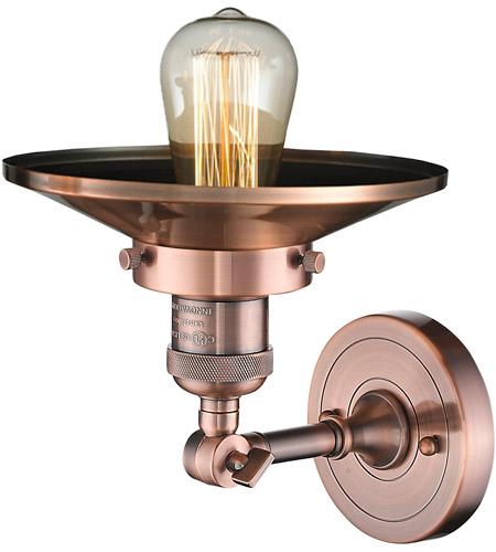 Innovations Lighting 203-AC-M3-LED Railroad LED 8 inch Antique Copper Sconce Wall Light alternative photo thumbnail