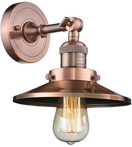Innovations Lighting 203-AC-M3-LED Railroad LED 8 inch Antique Copper Sconce Wall Light photo thumbnail
