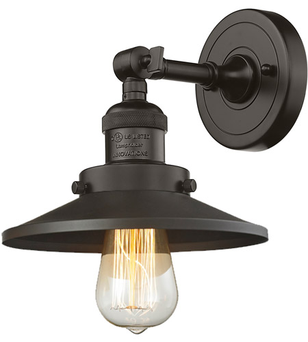 Innovations Lighting 203-OB-M5 Railroad 1 Light 8 inch Oil Rubbed Bronze Sconce Wall Light, Franklin Restoration photo