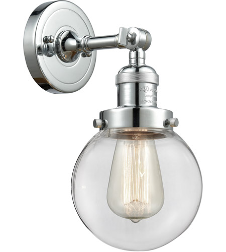 Polished Chrome Glass Beacon Wall Sconces