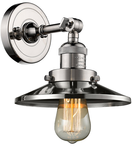 Innovations Lighting 203-PN-M1 Railroad 1 Light 8 inch Polished Nickel Sconce Wall Light, Franklin Restoration photo