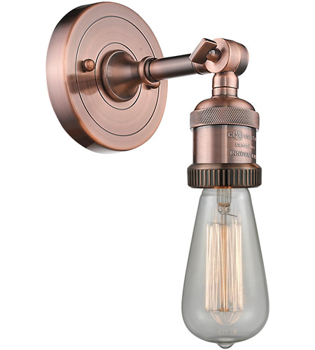 Innovations Lighting 203NH-AC Bare Bulb 1 Light 5 inch Antique Copper Sconce Wall Light photo thumbnail
