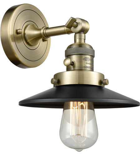 Innovations Lighting 203SW-AB-M6 Railroad 1 Light 8 inch Antique Brass Sconce Wall Light, Franklin Restoration photo