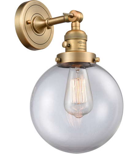 Brushed Brass Glass Beacon Wall Sconces