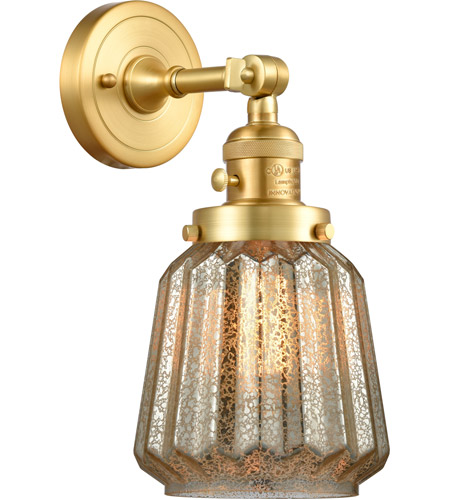Innovations Lighting 203SW-SG-G146 Chatham 1 Light 6 inch Satin Gold Sconce Wall Light, Franklin Restoration photo thumbnail