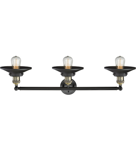 Innovations Lighting 205-BAB-S-M6 Railroad 3 Light 32 inch Black Antique Brass Bath Vanity Light Wall Light, Franklin Restoration photo
