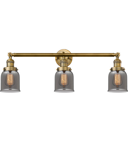 Innovations Lighting 205-BB-S-G53 Small Bell 3 Light 30 inch Brushed Brass Bath Vanity Light Wall Light, Franklin Restoration photo