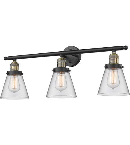 Innovations Lighting 205-BBB-G62 Signature 3 Light 30 inch Black and Brushed Brass Vanity Light Wall Light, Small, Cone photo