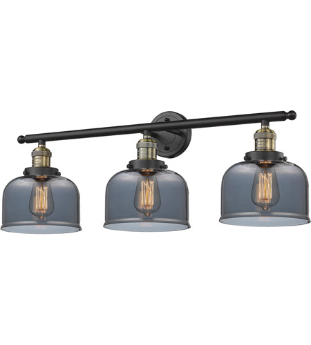 Innovations Lighting 205-BBB-G73 Signature 3 Light 32 inch Black and Brushed Brass Vanity Light Wall Light, Large, Bell photo