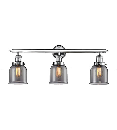 Innovations Lighting 205-PC-G53 Small Bell 3 Light 30 inch Polished Chrome Bath Vanity Light Wall Light, Franklin Restoration photo
