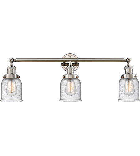 Innovations Lighting 205-PN-S-G54 Small Bell 3 Light 30 inch Polished Nickel Bath Vanity Light Wall Light, Franklin Restoration photo