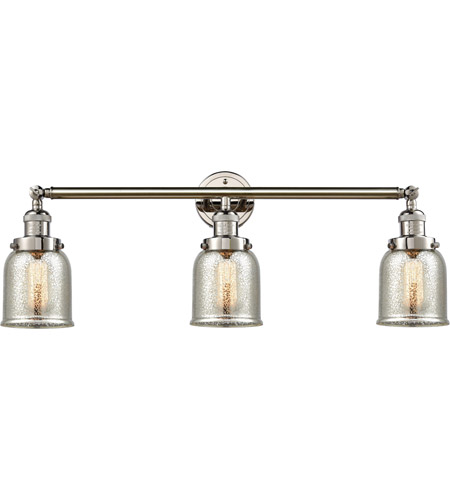 Innovations Lighting 205-PN-S-G58 Small Bell 3 Light 30 inch Polished Nickel Bath Vanity Light Wall Light, Franklin Restoration photo