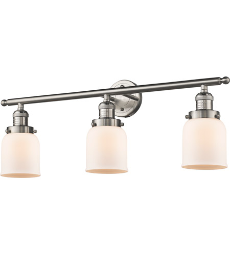 Innovations Lighting 205-SN-G51 Small Bell 3 Light 30 inch Brushed Satin Nickel Bath Vanity Light Wall Light, Franklin Restoration photo