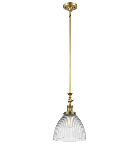 Innovations Lighting 206-BB-G222 Seneca Falls 1 Light 10 inch Brushed Brass Pendant Ceiling Light, Franklin Restoration photo