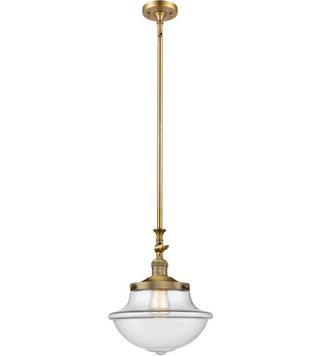 Innovations Lighting 206-BB-G542CL-LED Oxford School House LED 12 inch Brushed Brass Pendant Ceiling Light, Franklin Restoration photo
