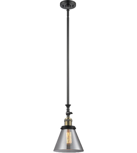Innovations Lighting 206-BBB-G43 Signature 1 Light 8 inch Black and Brushed Brass Mini Pendant Ceiling Light, Large, Cone photo