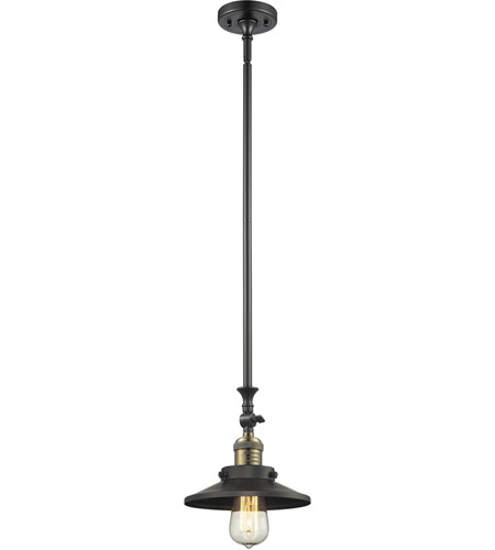 Innovations Lighting 206-BBB-M6 Railroad 1 Light 5 inch Black and Brushed Brass Mini Pendant Ceiling Light photo