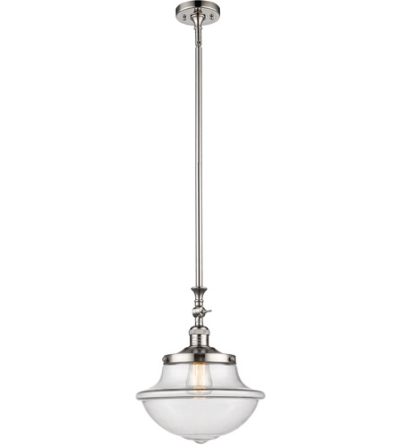 Innovations Lighting 206-PN-G542CL Oxford School House 1 Light 12 inch Polished Nickel Pendant Ceiling Light, Franklin Restoration photo