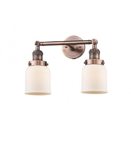 Innovations Lighting 208-AC-G51-LED Small Bell LED 16 inch Antique Copper Bath Vanity Light Wall Light, Franklin Restoration photo